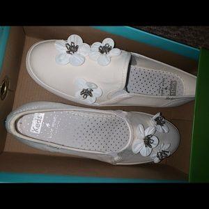 Keds x Kate Spade New York white slip in shoes